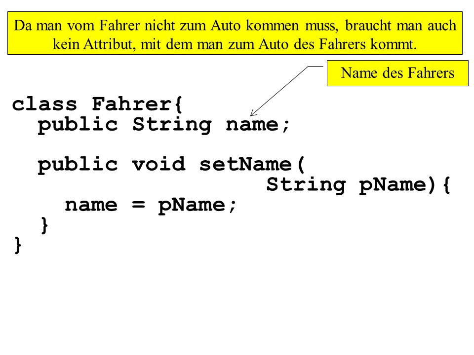 public class MainAssoziationUNI_1zuN_1 { public static void main(String[] args){ Fahrer[] dieFahrer = new Fahrer[2]; Wie erstellt man ein Array der Länge 2?
