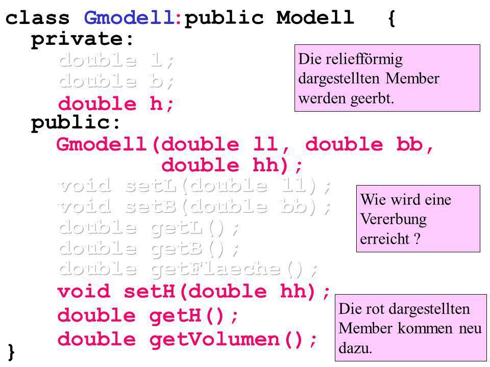 double h; double getVolumen(); Die reliefförmig dargestellten Member werden geerbt.