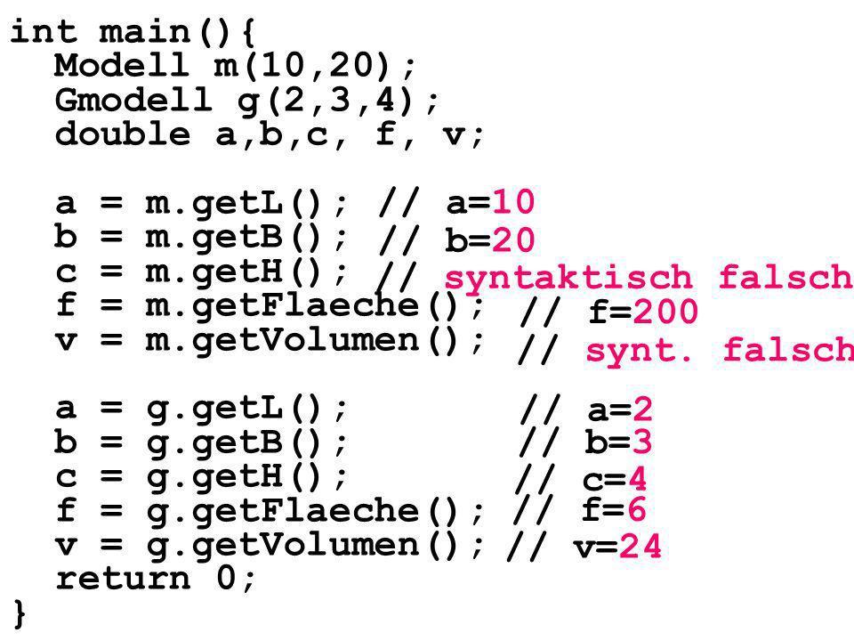 int main(){ Modell m(10,20); Gmodell g(2,3,4); double a,b,c, f, v; a = m.getL(); b = m.getB(); c = m.getH(); f = m.getFlaeche(); v = m.getVolumen(); a = g.getL(); b = g.getB(); c = g.getH(); f = g.getFlaeche(); v = g.getVolumen(); return 0; } // a=10 // b=20 // syntaktisch falsch // f=200 // a=2 // b=3 // c=4 // f=6 // v=24 // synt.