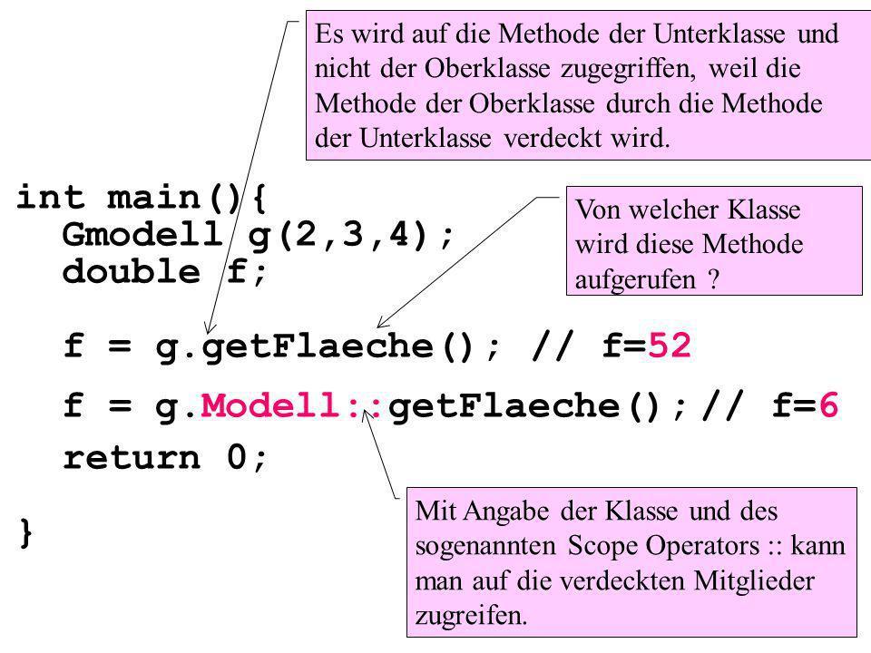 int main(){ Gmodell g(2,3,4); double f; f = g.getFlaeche(); return 0; } // f=6 Es wird auf die Methode der Unterklasse und nicht der Oberklasse zugegriffen, weil die Methode der Oberklasse durch die Methode der Unterklasse verdeckt wird.