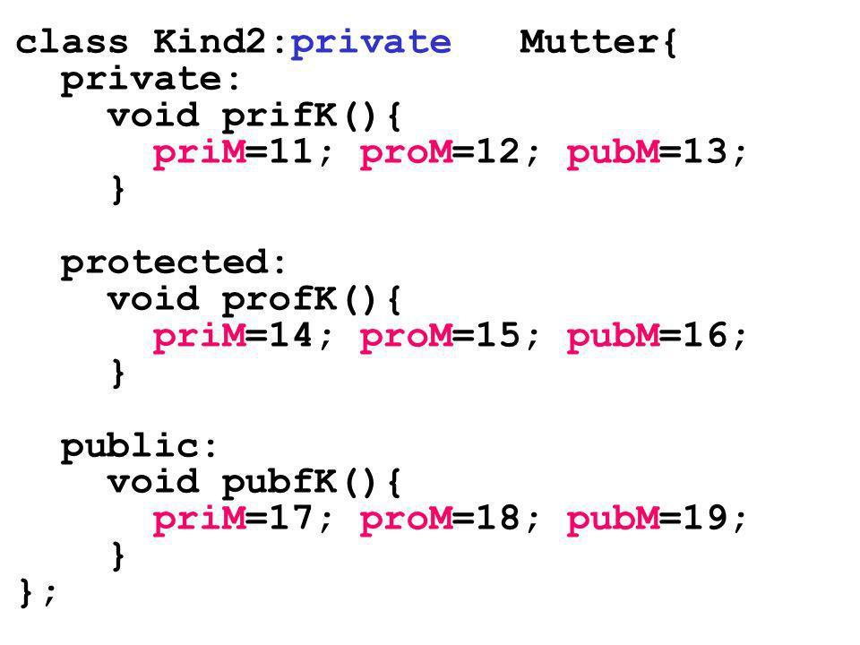 class Kind2:private Mutter{ private: void prifK(){ priM=11; proM=12; pubM=13; } protected: void profK(){ priM=14; proM=15; pubM=16; } public: void pub