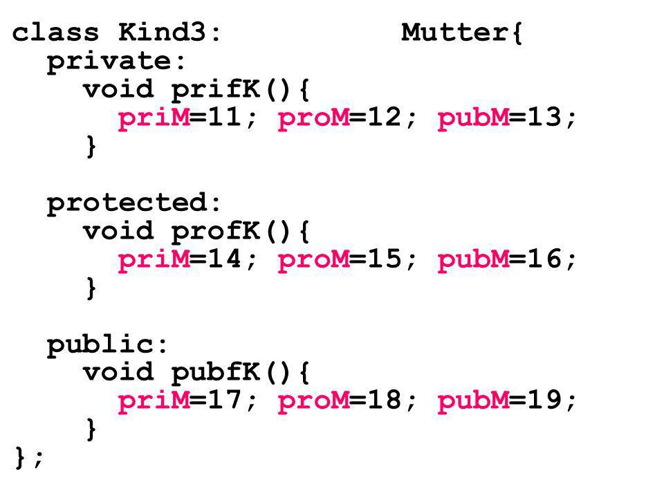 class Kind3: Mutter{ private: void prifK(){ priM=11; proM=12; pubM=13; } protected: void profK(){ priM=14; proM=15; pubM=16; } public: void pubfK(){ priM=17; proM=18; pubM=19; } };