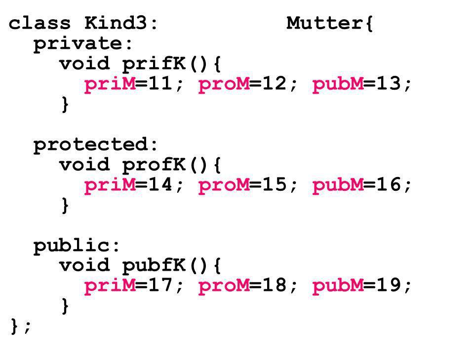 class Kind3: Mutter{ private: void prifK(){ priM=11; proM=12; pubM=13; } protected: void profK(){ priM=14; proM=15; pubM=16; } public: void pubfK(){ p