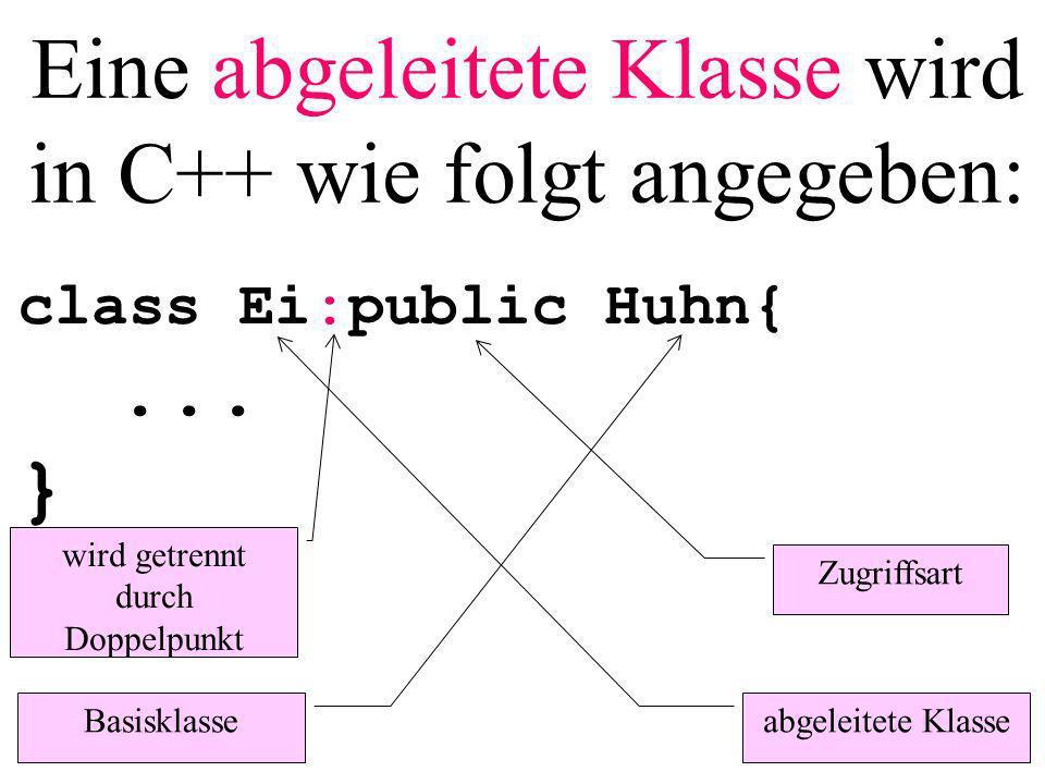 Eine abgeleitete Klasse wird in C++ wie folgt angegeben: class Ei:public Huhn{...