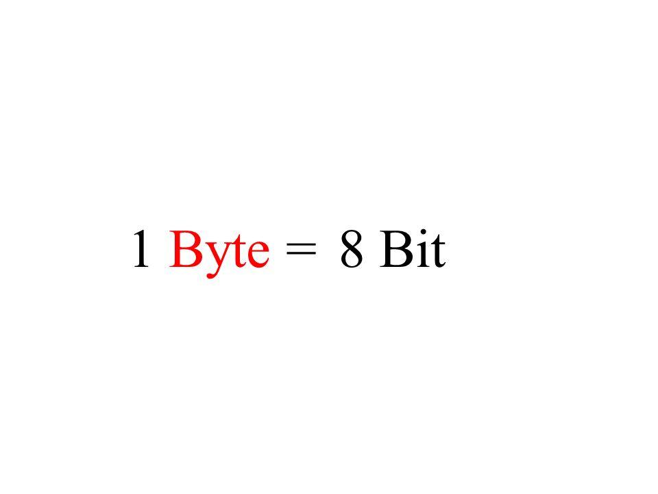 1 Byte =8 Bit