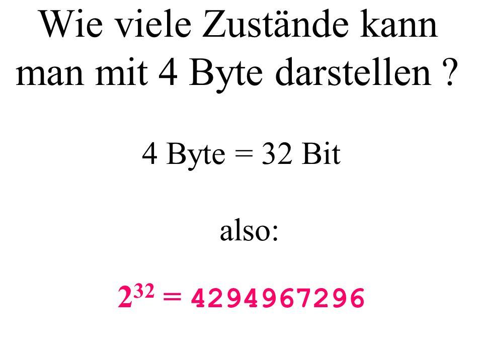 Wie viele Zustände kann man mit 4 Byte darstellen ? 2 32 = 4294967296 4 Byte = 32 Bit also: