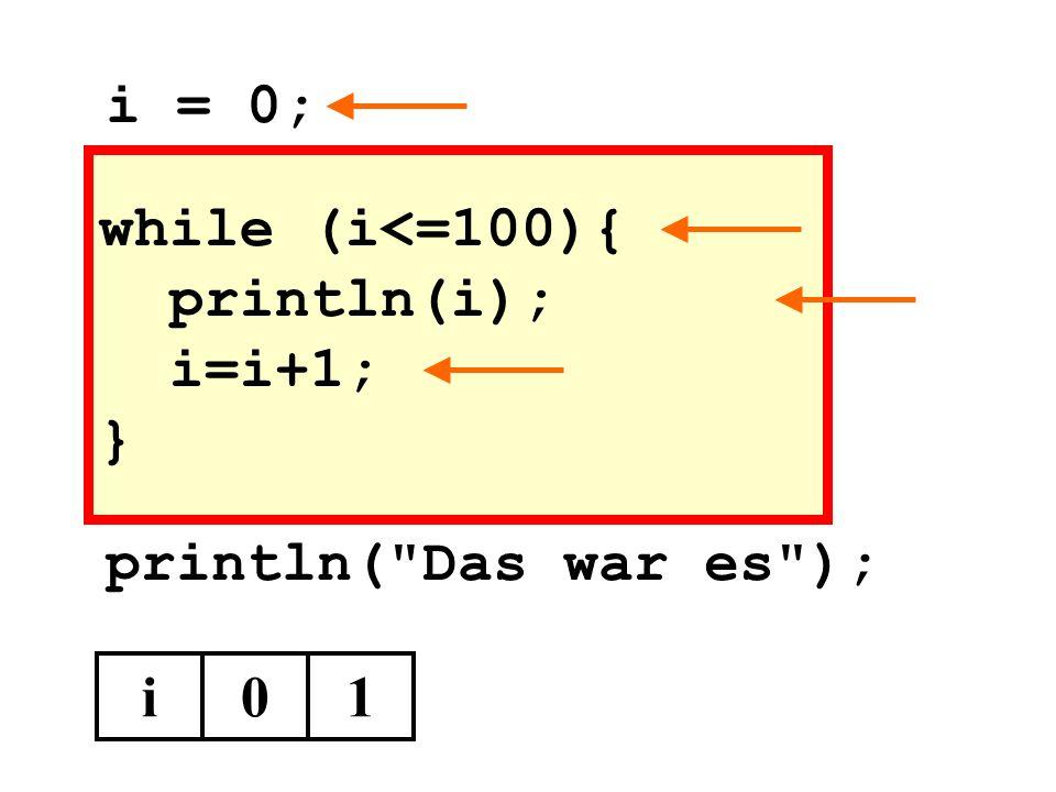 while (i<=100){ println(i); i=i+1; } println( Das war es ); i01 i = 0;