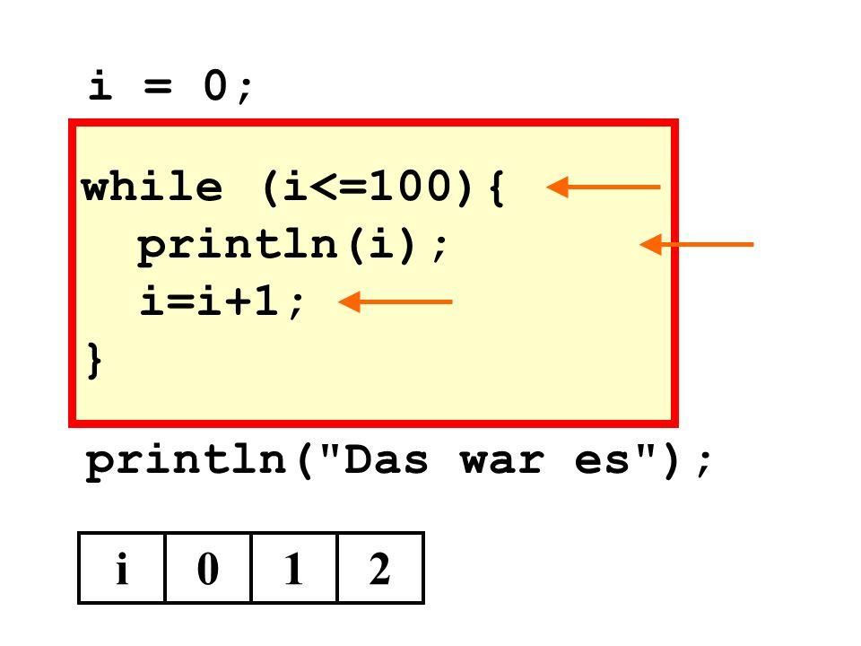 while (i<=100){ println(i); i=i+1; } println( Das war es ); i012 i = 0;