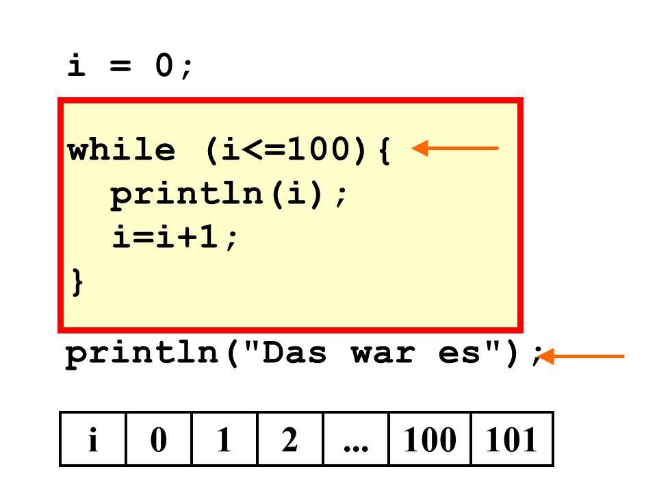 while (i<=100){ println(i); i=i+1; } println( Das war es ); i012...100101 i = 0;