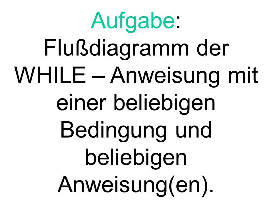 Aufgabe: Flußdiagramm der WHILE – Anweisung mit einer beliebigen Bedingung und beliebigen Anweisung(en).
