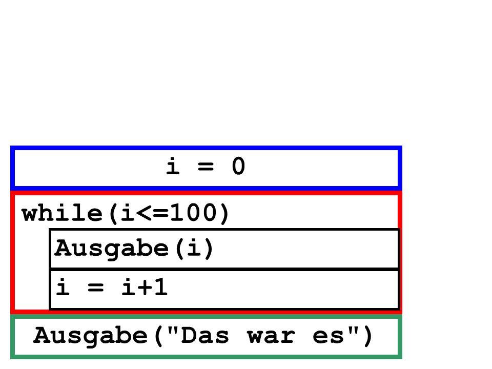 Ausgabe(i) while(i<=100) i = i+1 Ausgabe(