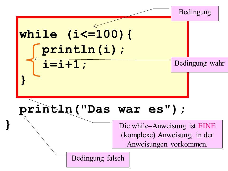 while (i<=100){ println(i); i=i+1; } Bedingung Bedingung wahr Bedingung falsch println( Das war es ); } Die while–Anweisung ist EINE (komplexe) Anweisung, in der Anweisungen vorkommen.