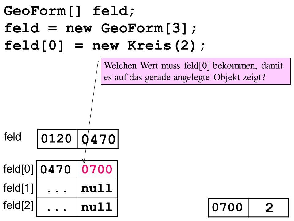 GeoForm[] feld; feld 0120 0470 null... feld[0] feld[1] feld[2] 0470 feld[0] = new Kreis(2); 0700 2 Welchen Wert muss feld[0] bekommen, damit es auf da