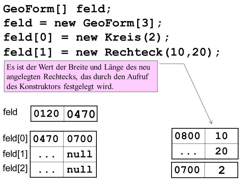 GeoForm[] feld; feld 0120 0470 null... feld[0] feld[1] feld[2] 0470 feld[0] = new Kreis(2); feld[1] = new Rechteck(10,20); Es ist der Wert der Breite