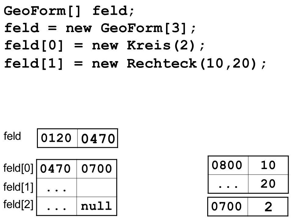 GeoForm[] feld; feld 0120 0470 null... feld[0] feld[1] feld[2] 0470 feld[0] = new Kreis(2); feld[1] = new Rechteck(10,20); 080010 20... 0700 2 feld =