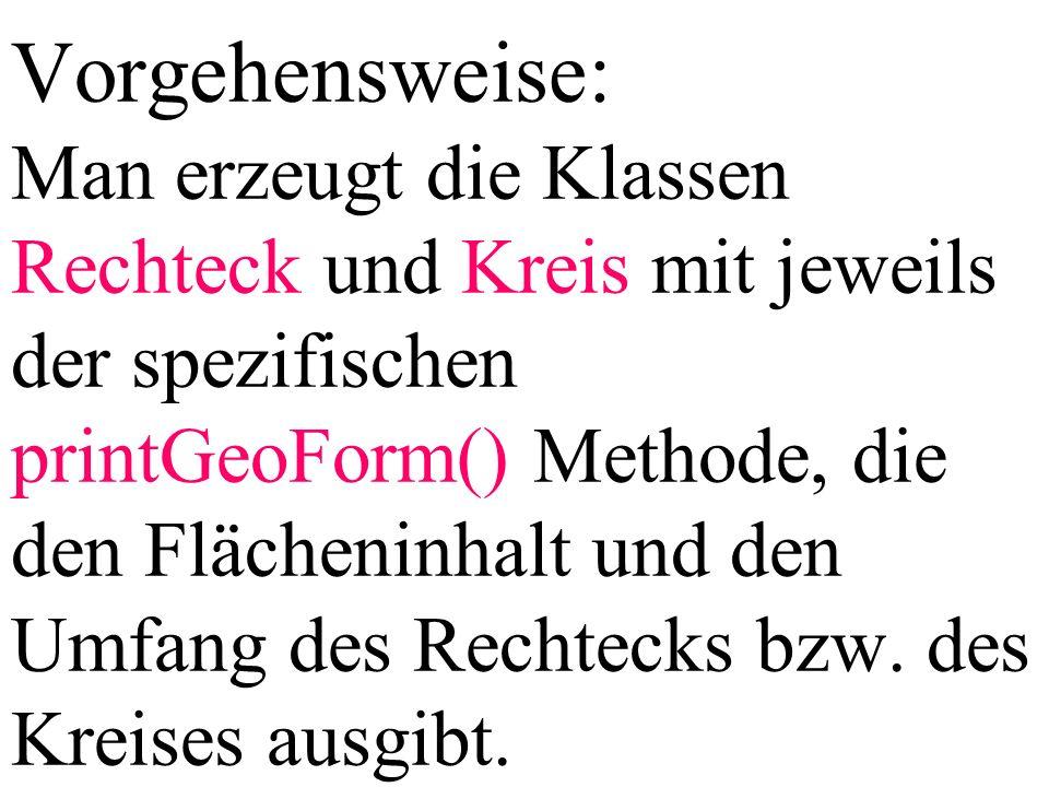 GeoForm[] feld; feld[0] = new Kreis(2); feld[1] = new Rechteck(10,20); feld[0].printGeoForm(); feld[1].printGeoForm(); Es wird nicht die Methode der Referenzvariablen feld, also printGeoForm() der Klasse GeoForm aufgerufen, sondern die Methode der Klasse des Objekts, auf das die Referenzvariable feld (feld[0], feld[1],...) zeigt, also hier printGeoForm() der Klasse Rechteck bzw.