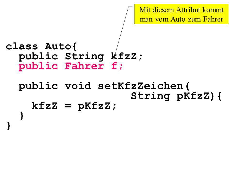 class Auto{ public String kfzZ; public Fahrer f; public void setKfzZeichen( String pKfzZ){ kfzZ = pKfzZ; } Mit diesem Attribut kommt man vom Auto zum