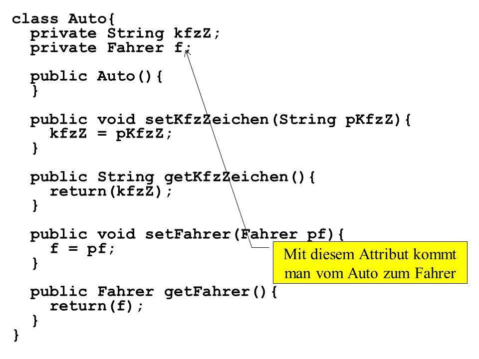 class Auto{ private String kfzZ; private Fahrer f; public Auto(){ } public void setKfzZeichen(String pKfzZ){ kfzZ = pKfzZ; } public String getKfzZeichen(){ return(kfzZ); } public void setFahrer(Fahrer pf){ f = pf; } public Fahrer getFahrer(){ return(f); } Mit diesem Attribut kommt man vom Auto zum Fahrer