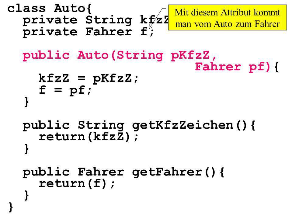 class Auto{ private String kfzZ; private Fahrer f; public Auto(String pKfzZ, Fahrer pf){ kfzZ = pKfzZ; f = pf; } public String getKfzZeichen(){ return(kfzZ); } public Fahrer getFahrer(){ return(f); } Mit diesem Attribut kommt man vom Auto zum Fahrer