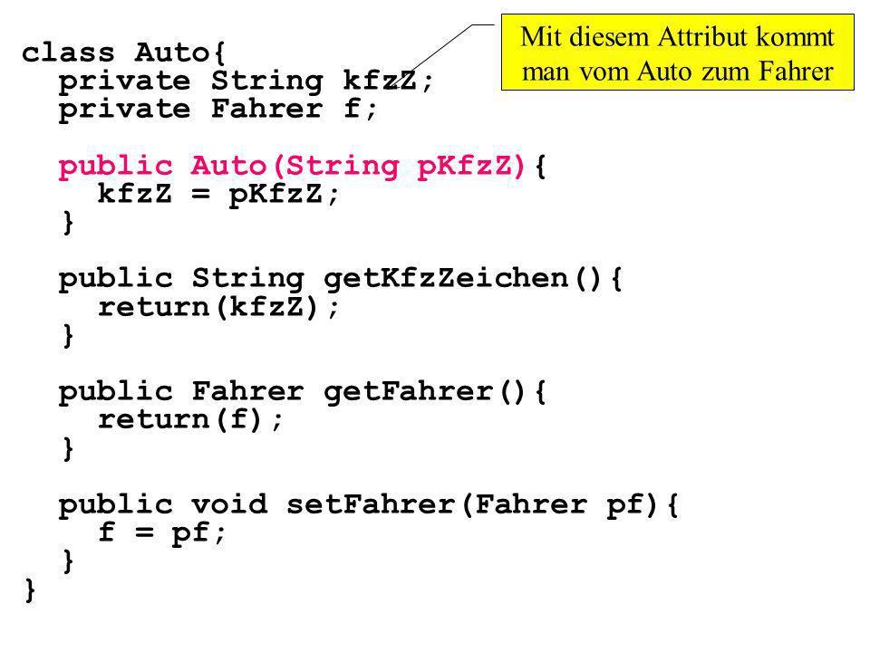 class Auto{ private String kfzZ; private Fahrer f; public Auto(String pKfzZ){ kfzZ = pKfzZ; } public String getKfzZeichen(){ return(kfzZ); } public Fa