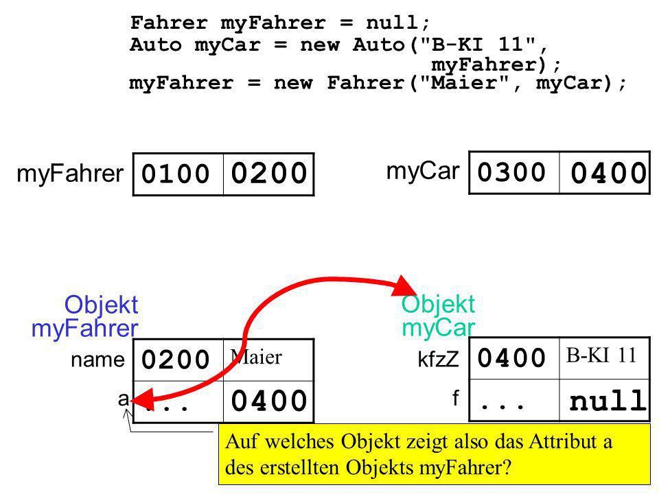 Auto myCar = new Auto( B-KI 11 , myFahrer); Fahrer myFahrer = null; myFahrer 0100 0300 0400 myCar Objekt myCar null kfzZ f Objekt myFahrer 0200 Maier...