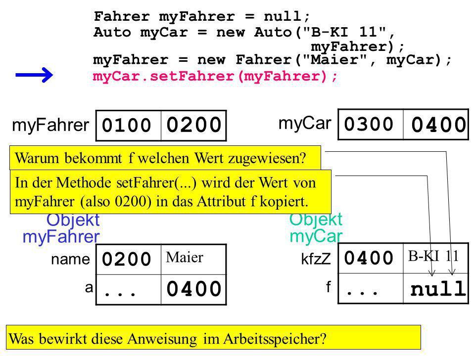 Auto myCar = new Auto( B-KI 11 , myFahrer); Fahrer myFahrer = null; myFahrer 0100 0300 0400 Was bewirkt diese Anweisung im Arbeitsspeicher.