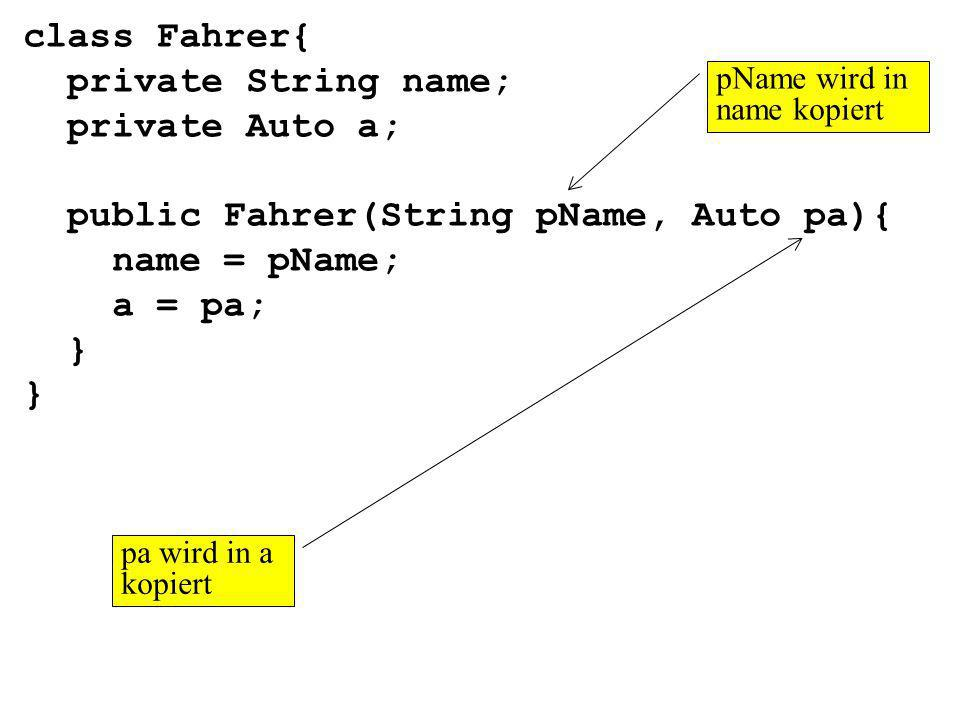 class Fahrer{ private String name; private Auto a; public Fahrer(String pName, Auto pa){ name = pName; a = pa; } pName wird in name kopiert pa wird in a kopiert