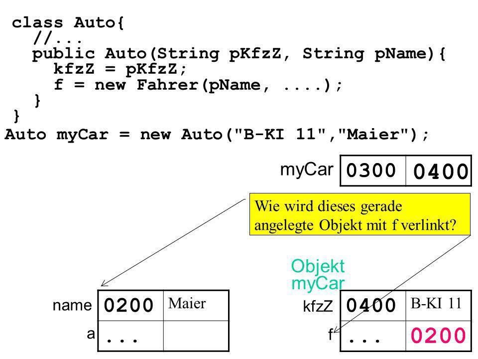 class Auto{ //... public Auto(String pKfzZ, String pName){ kfzZ = pKfzZ; f = new Fahrer(pName,....); } Auto myCar = new Auto(
