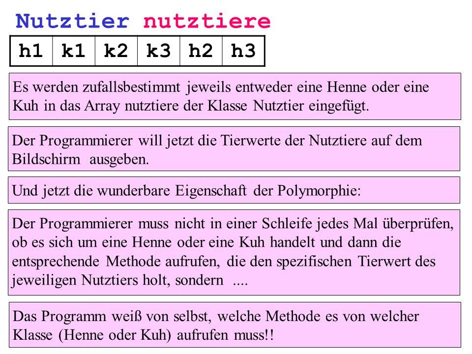 Nutztier nutztiere h1k1k2k3h2h3 Und jetzt die wunderbare Eigenschaft der Polymorphie: Der Programmierer muss nicht in einer Schleife jedes Mal überprü