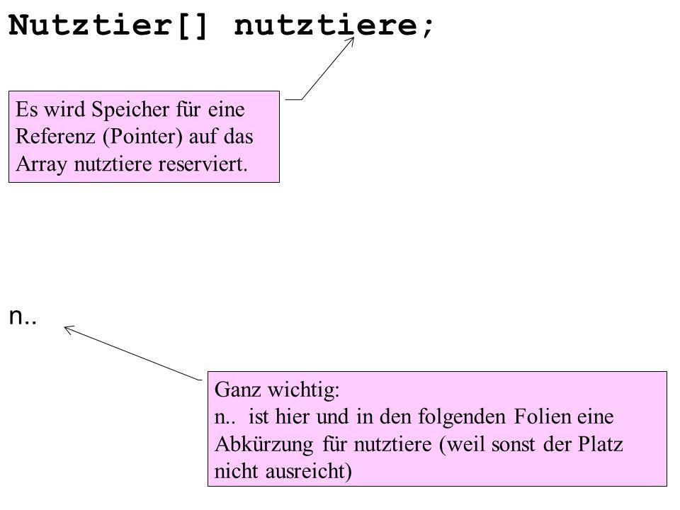 Nutztier[] nutztiere; n.. Es wird Speicher für eine Referenz (Pointer) auf das Array nutztiere reserviert. Ganz wichtig: n.. ist hier und in den folge