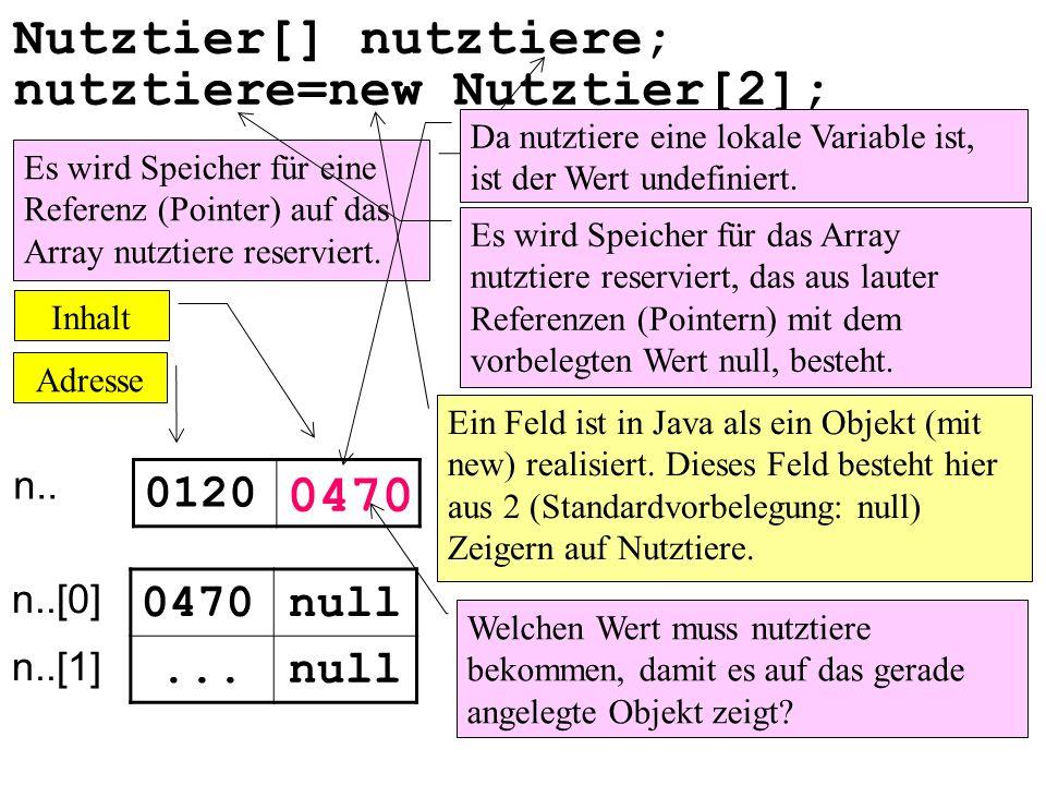 Nutztier[] nutztiere; n.. 0120 0470null... nutztiere=new Nutztier[2]; n..[0] n..[1] Es wird Speicher für eine Referenz (Pointer) auf das Array nutztie
