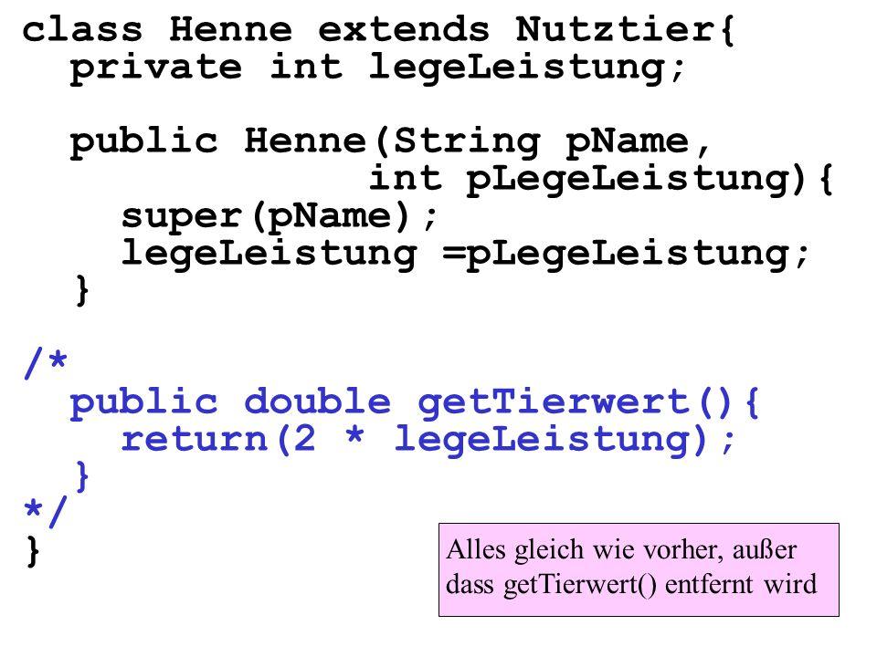 class Henne extends Nutztier{ private int legeLeistung; public Henne(String pName, int pLegeLeistung){ super(pName); legeLeistung =pLegeLeistung; } /*