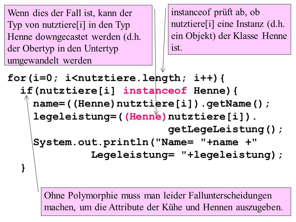 for(i=0; i<nutztiere.length; i++){ if(nutztiere[i] instanceof Henne){ name=((Henne)nutztiere[i]).getName(); legeleistung=((Henne)nutztiere[i]). getLeg