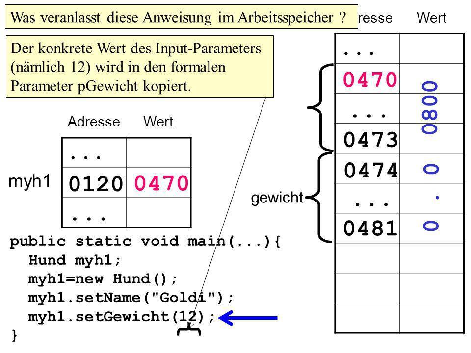 public static void main(...){ Hund myh1; myh1=new Hund(); myh1.setName( Goldi ); myh1.setGewicht(12); } AdresseWert...