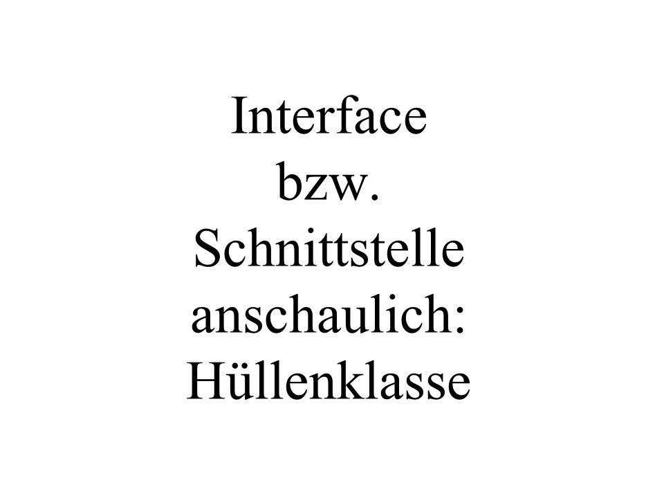 Interface bzw. Schnittstelle anschaulich: Hüllenklasse