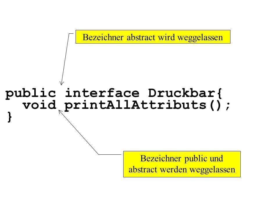 public interface Druckbar{ void printAllAttributs(); } Bezeichner abstract wird weggelassen Bezeichner public und abstract werden weggelassen