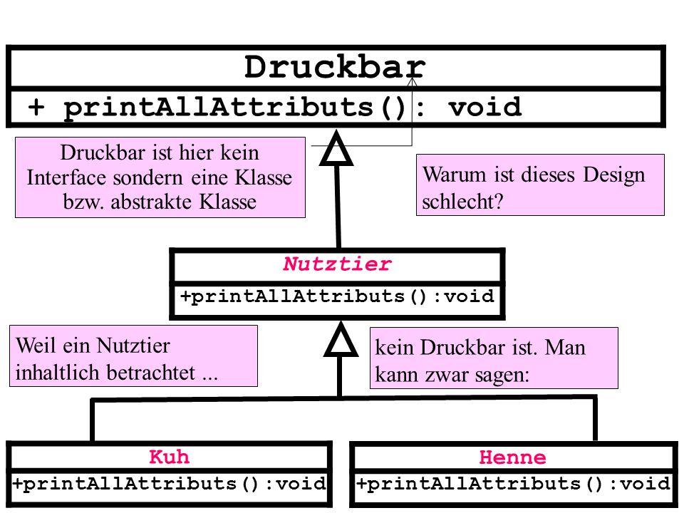 Nutztier +printAllAttributs():void Kuh +printAllAttributs():void Henne +printAllAttributs():void Druckbar + printAllAttributs(): void Druckbar ist hie