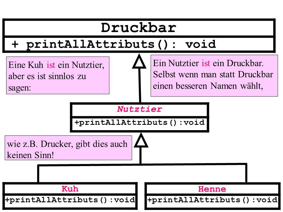 Nutztier +printAllAttributs():void Kuh +printAllAttributs():void Henne +printAllAttributs():void Druckbar + printAllAttributs(): void Eine Kuh ist ein