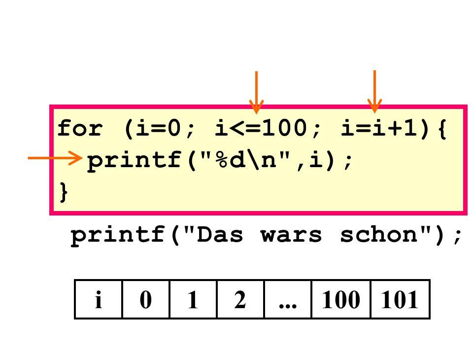 printf( Das wars schon ); i0 1 for (i=0; i<=100; i=i+1){ printf( %d\n ,i); } 2...100101