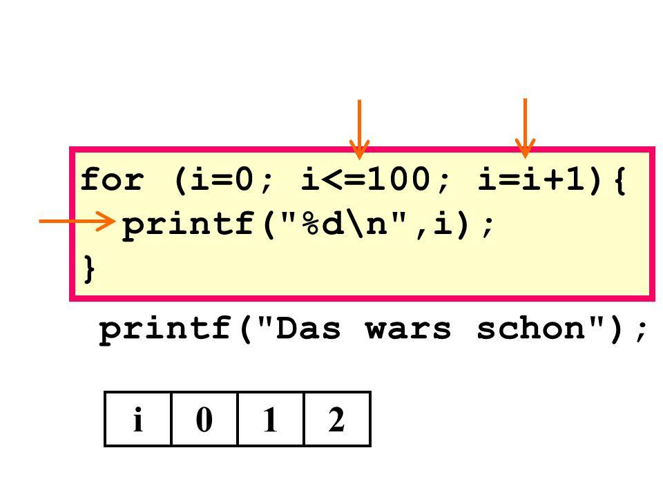 printf( Das wars schon ); i0 1 for (i=0; i<=100; i=i+1){ printf( %d\n ,i); } 2