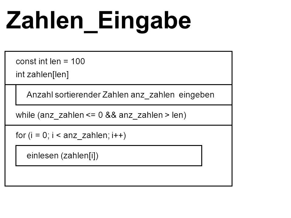 Zahlen_Eingabe const int len = 100 int zahlen[len] while (anz_zahlen len) Anzahl sortierender Zahlen anz_zahlen eingeben for (i = 0; i < anz_zahlen; i++) einlesen (zahlen[i])