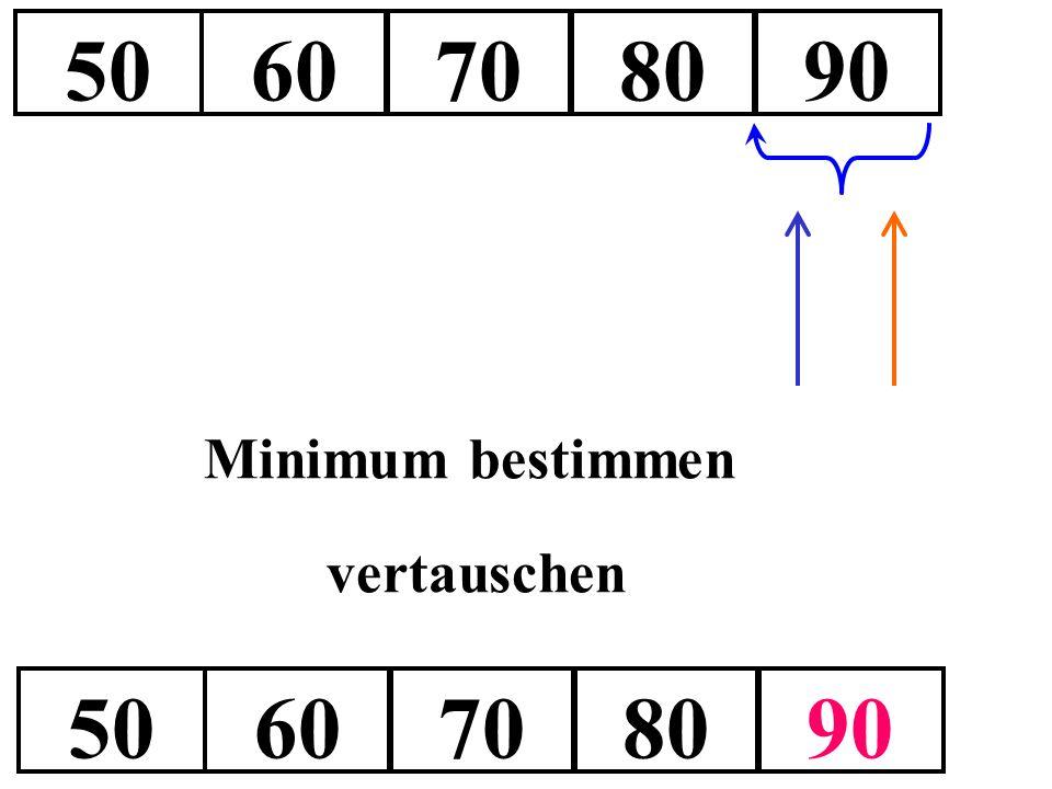 5060708090 Minimum bestimmen vertauschen 5060708090