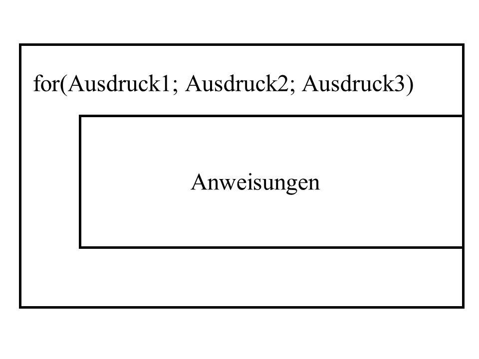 Anweisungen for(Ausdruck1; Ausdruck2; Ausdruck3)