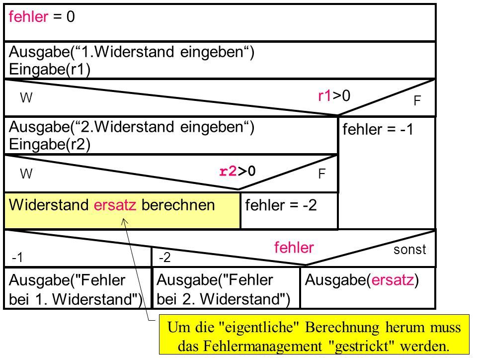 fehler = 0 Ausgabe(1.Widerstand eingeben) Eingabe(r1) W F r1>0 r2>0 Widerstand ersatz berechnen fehler = -1 Ausgabe(ersatz) fehler = -2 Ausgabe(