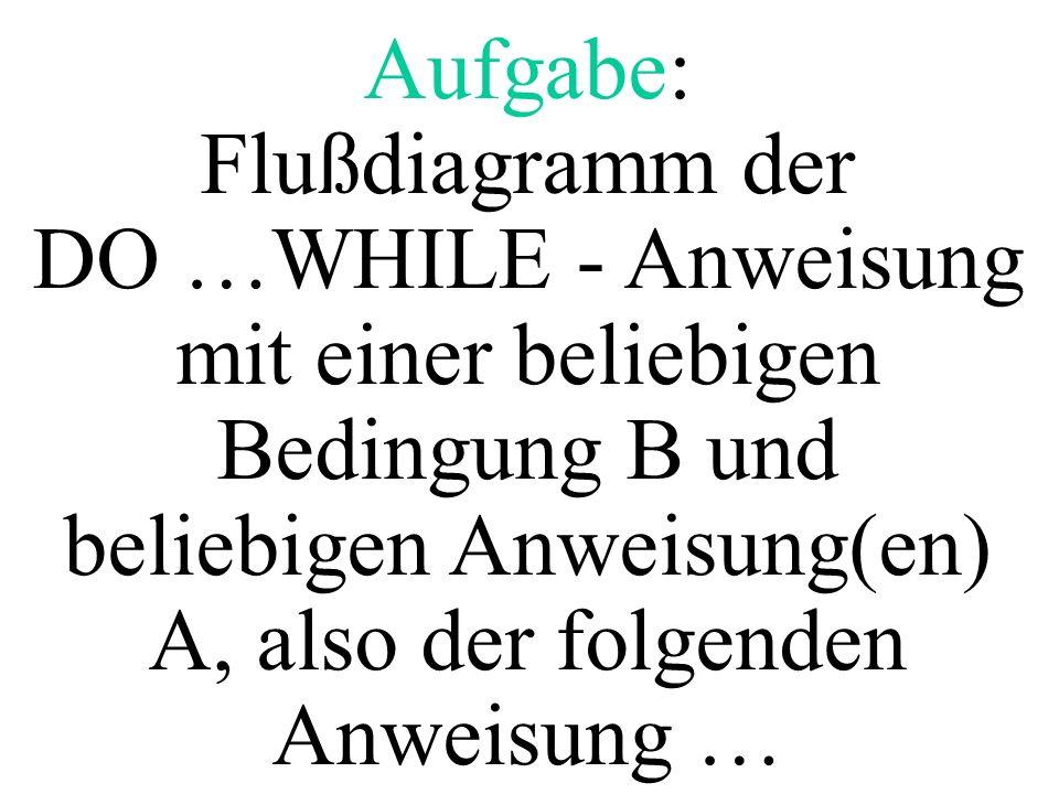 Aufgabe: Flußdiagramm der DO …WHILE - Anweisung mit einer beliebigen Bedingung B und beliebigen Anweisung(en) A, also der folgenden Anweisung …