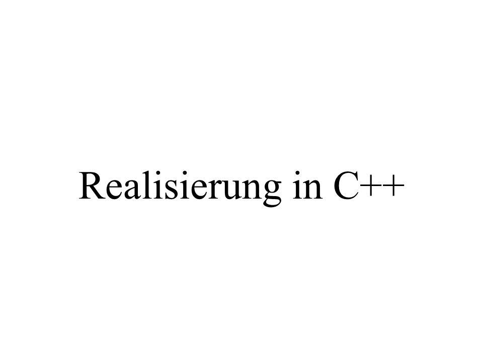 int main(){ int anz, zahl, i; int *panf; cout << Anzahl eingeben: ; cin >> anz; panf = new int[anz]; cout << Zahlen eingeben: ; for(i=0; i<anz; i++){ cin >> zahl; *(panf+i)=zahl; } // panf[i]=zahl delete panf; } eingelesener Wert wird in anz gespeichert für ein Feld von anz integer-Werten panf zeigt auf das erste Element des Feldes Mögliche (gleichwertige) Formen des Zugriffs Reserviert dynamisch Speicher: gibt Speicher wieder frei