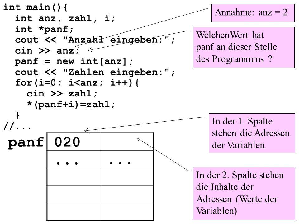 int main(){ int anz; int *pi; Konto *pk, *pkk; anz = rand(); pi = new int; pk = new Konto; pkk = new Konto[anz];...
