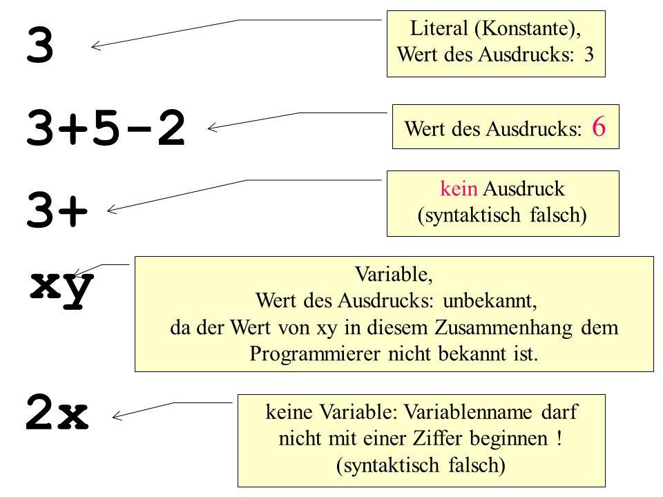 int main(){ int i; i=10; println( Wert nach i++ ist: + i++); println( Wert nach i–- ist: + i--); println( Wert nach ++i ist: + ++i); println( Wert nach --i ist: + --i); } Wert von i wird erst nach dieser Anweisung erhöht Wert von i wird erst nach dieser Anweisung verringert Wert von i wird schon vor dieser Anweisung erhöht Wert von i wird schon vor dieser Anweisung verringert 10 11 10 also Bildschirmausgabe: