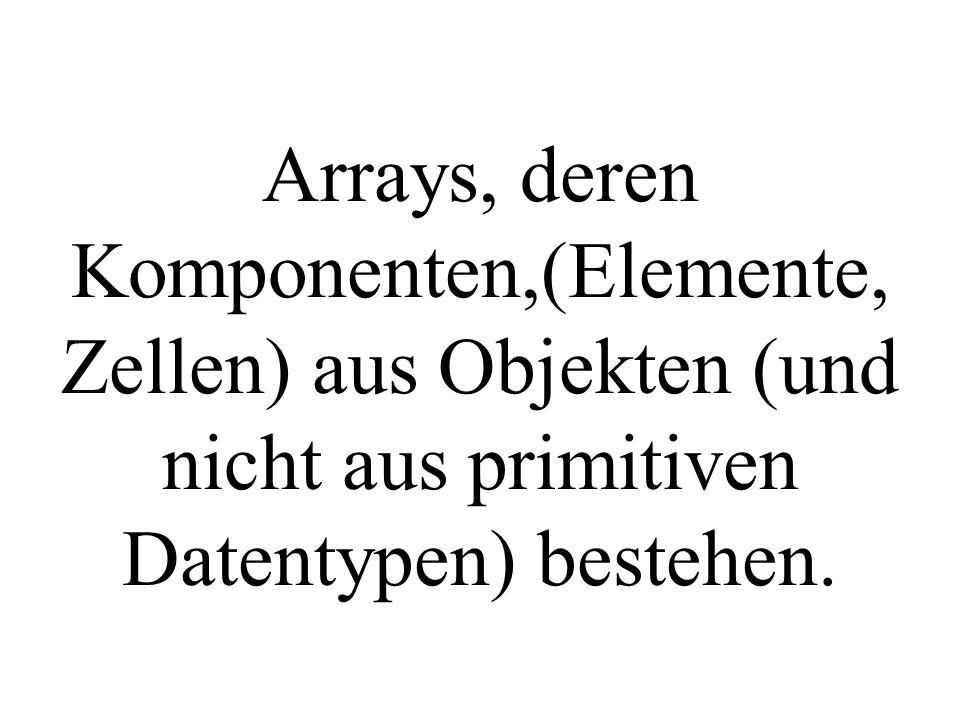 Arrays, deren Komponenten,(Elemente, Zellen) aus Objekten (und nicht aus primitiven Datentypen) bestehen.