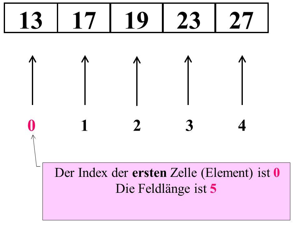 1317192327 Der Index der ersten Zelle (Element) ist 0 Die Feldlänge ist 5 01234